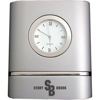 Stony Brook University- Two-Toned Desk Clock -Silver