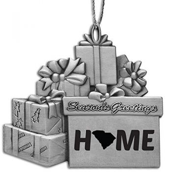 South Carolina-State Outline-Home-Pewter Gift Package Ornament-Silver