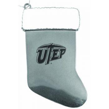 University of Texas at El Paso - Chirstmas Holiday Stocking Ornament - Silver