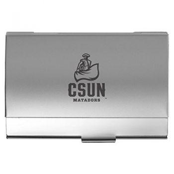 California State University, Northridge - Two-Tone Business Card Holder - Silver