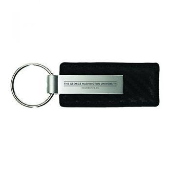 George Washington University-Carbon Fiber Leather and Metal Key Tag-Black