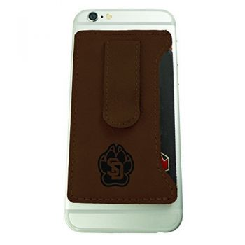 University of South Dakota -Leatherette Cell Phone Card Holder-Brown