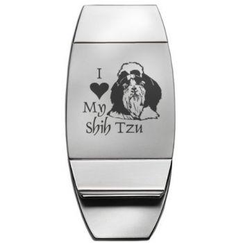 Stainless Steel Money Clip  - I Love My Shih Tzu