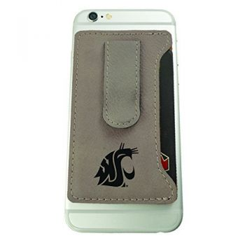 Washington State University -Leatherette Cell Phone Card Holder-Tan