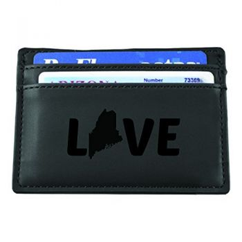 Maine-State Outline-Love-European Money Clip Wallet-Black