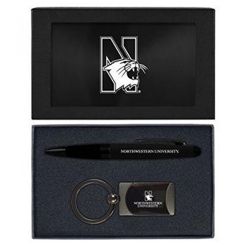 Northwestern University -Executive Twist Action Ballpoint Pen Stylus and Gunmetal Key Tag Gift Set-Black