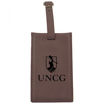 University of North Carolina at Greensboro-Leatherette Luggage Tag-Brown