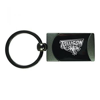 Towson University -Two-Toned gunmetal Key Tag-Gunmetal