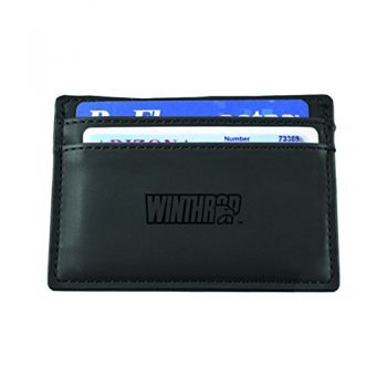 Winthrop University-European Money Clip Wallet-Black