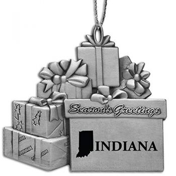 Indiana-State Outline-Pewter Gift Package Ornament-Silver