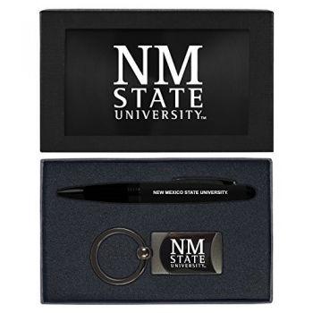 New Mexico State-Executive Twist Action Ballpoint Pen Stylus and Gunmetal Key Tag Gift Set-Black