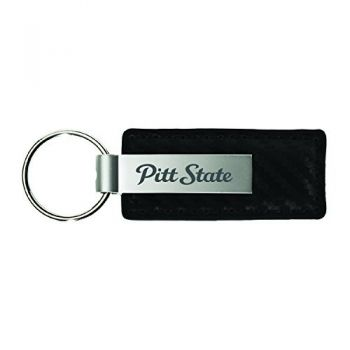 Pittsburg State University-Carbon Fiber Leather and Metal Key Tag-Black
