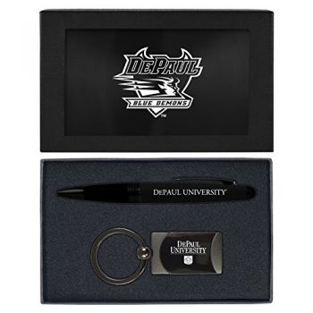 DePaul University -Executive Twist Action Ballpoint Pen Stylus and Gunmetal Key Tag Gift Set-Black