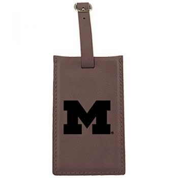 University of Michigan -Leatherette Luggage Tag-Brown