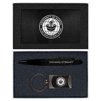 The University of Hawai'i-Executive Twist Action Ballpoint Pen Stylus and Gunmetal Key Tag Gift Set-Black