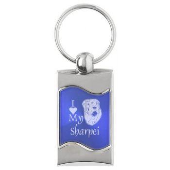 Keychain Fob with Wave Shaped Inlay  - I Love My Sharpei