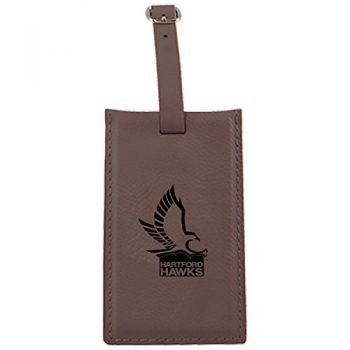 University of Hartford-Leatherette Luggage Tag-Brown