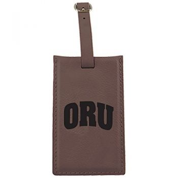Oral Roberts University -Leatherette Luggage Tag-Brown
