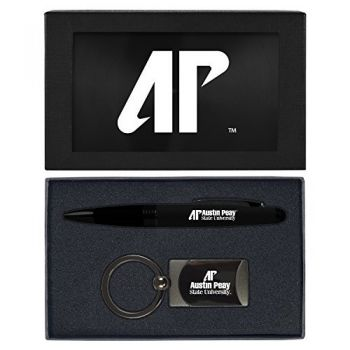 Austin Peay State University -Executive Twist Action Ballpoint Pen Stylus and Gunmetal Key Tag Gift Set-Black