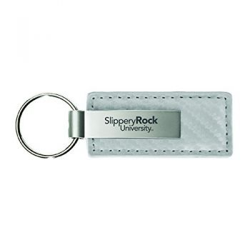 Slippery Rock University-Carbon Fiber Leather and Metal Key Tag-White
