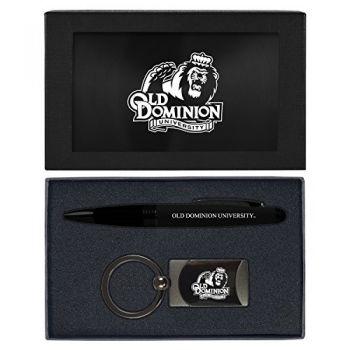 Old Dominion University -Executive Twist Action Ballpoint Pen Stylus and Gunmetal Key Tag Gift Set-Black