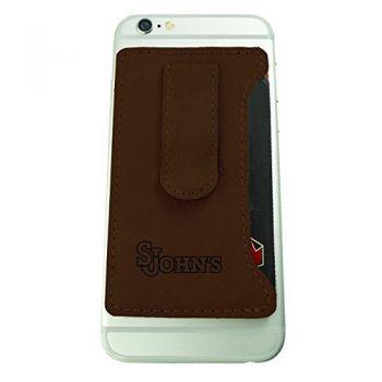St. John's University -Leatherette Cell Phone Card Holder-Brown
