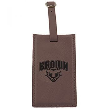 Brown University -Leatherette Luggage Tag-Brown