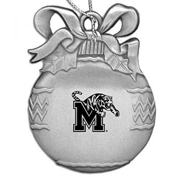 Pewter Christmas Bulb Ornament - Memphis Tigers