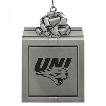 University of Northern Iowa-Pewter Christmas Holiday Present Ornament-Silver