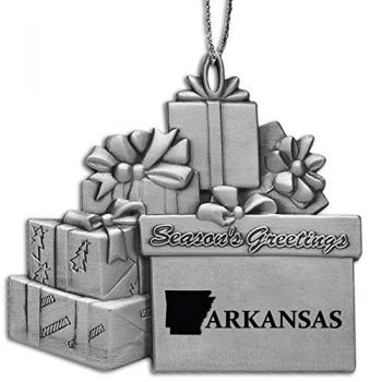 Arkansas-State Outline-Pewter Gift Package Ornament-Silver