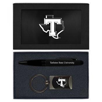 Tarleton State University -Executive Twist Action Ballpoint Pen Stylus and Gunmetal Key Tag Gift Set-Black