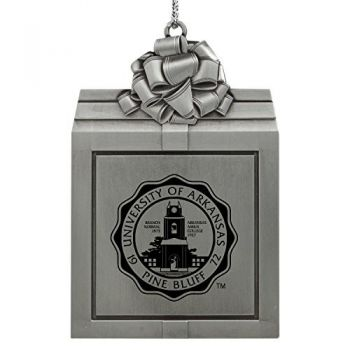 University of Arkansas at Pine Buff -Pewter Christmas Holiday Present Ornament-Silver