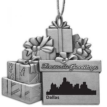 Pewter Gift Display Christmas Tree Ornament - Dallas City Skyline