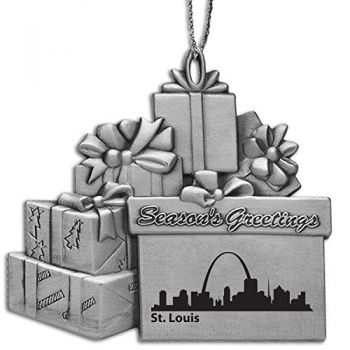 St. Louis, Missouri-Pewter Gift Package Ornament-Silver