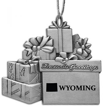 Wyoming-State Outline-Pewter Gift Package Ornament-Silver