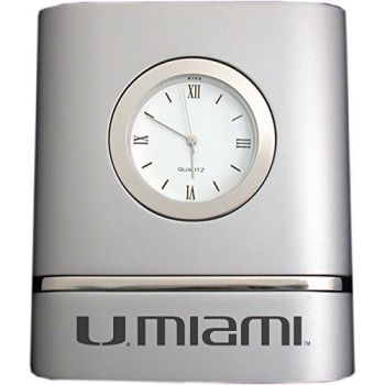 University of Miami- Two-Toned Desk Clock -Silver