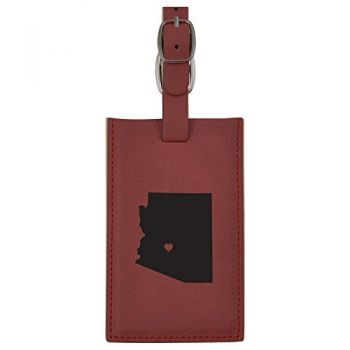 Arizona-State Outline-Heart-Leatherette Luggage Tag -Burgundy