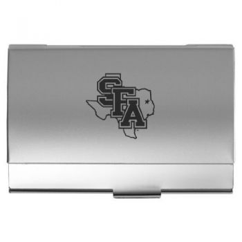 Stephen F. Austin State University - Two-Tone Business Card Holder - Silver