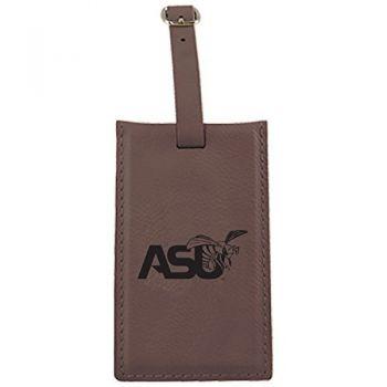 Alabama State University -Leatherette Luggage Tag-Brown