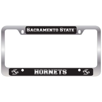 California State University -Metal License Plate Frame-Black