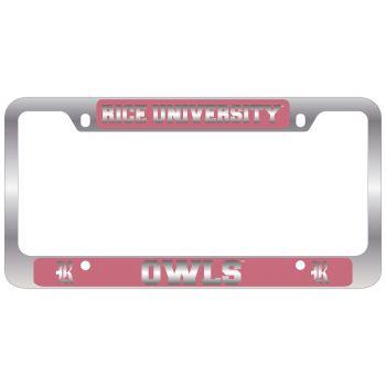Rice University -Metal License Plate Frame-Pink