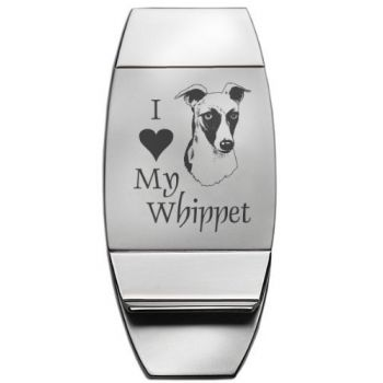 Two-Toned Money Clip - I Love My Whippet - Silver