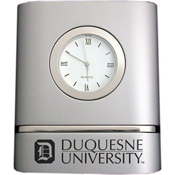 Duquesne University- Two-Toned Desk Clock -Silver