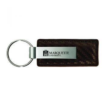 Marquette University-Carbon Fiber Leather and Metal Key Tag-Taupe