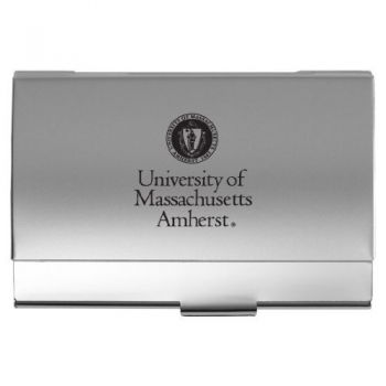 University of Massachusetts Amherst - Two-Tone Business Card Holder - Silver