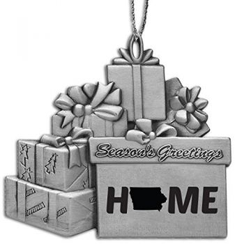 Iowa-State Outline-Home-Pewter Gift Package Ornament-Silver