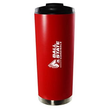 Ball State University-16oz. Stainless Steel Vacuum Insulated Travel Mug Tumbler-Red