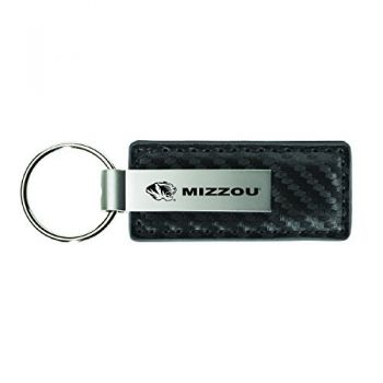 University of Missouri-Carbon Fiber Leather and Metal Key Tag-Grey