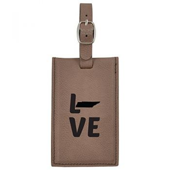 Tennessee-State Outline-Love-Leatherette Luggage Tag -Brown