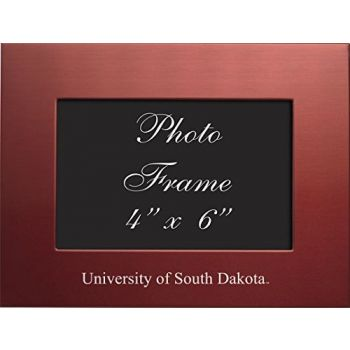 University of South Dakota - 4x6 Brushed Metal Picture Frame - Red